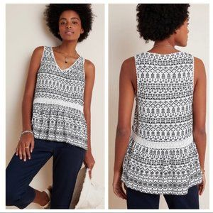 Anthropologie   NWT Cammie Embroidered Peplum Top